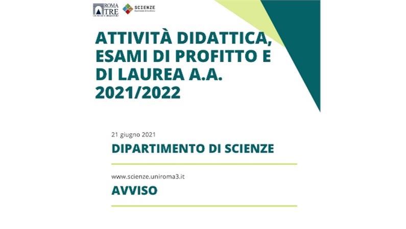 Novità attività didattica, esami di profitto e di laurea a.a 2021-2022