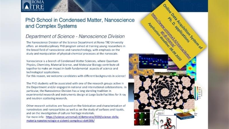 PhD School in Condensed Matter, Nanoscience and Complex System - call for applications, deadline 08.09.2020