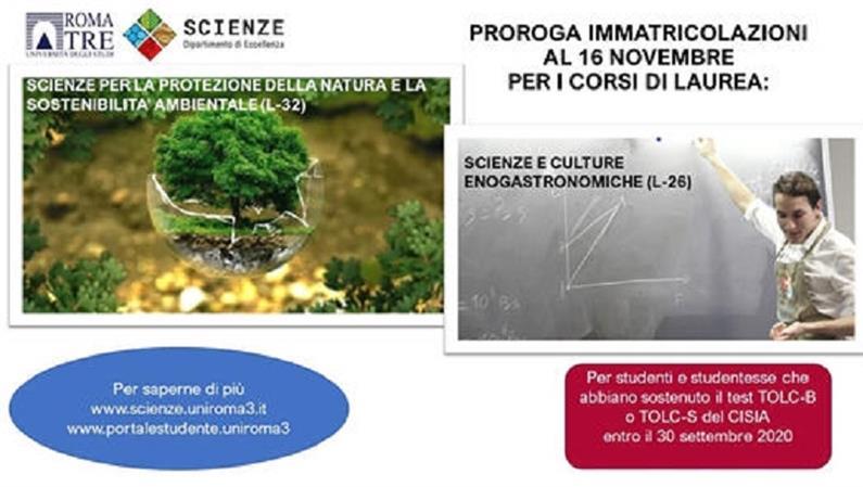 Proroga immatricolazioni corsi di laurea in Scienze e culture enogastronomiche (L-26) e Scienze per la protezione della natura e la sostenibilità ambientale (L-32) a.a. 2020-2021
