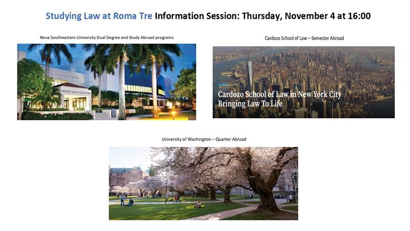 InfoSession for STUDYING in the USA! (Dual Degree and Semester/Quarter Abroad) Nova, Cardozo and University of Washington