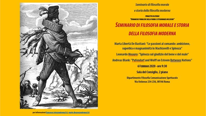 Seminario di  Filosofia morale e storia della filosofia moderna