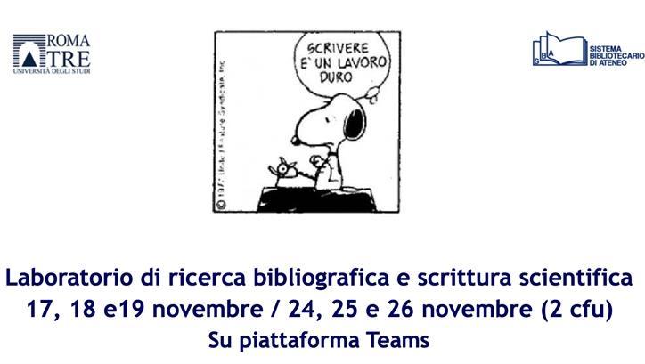 Avviso attività formativa Laboratorio di ricerca bibliografica e scrittura scientifica (2 cfu)