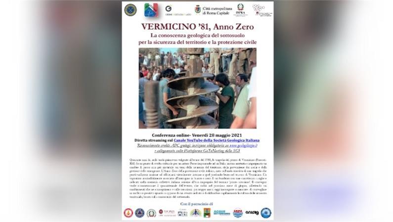 """Conferenza online: """"VERMICINO '81, Anno Zero. La conoscenza geologica del sottosuolo per la sicurezza del territorio e la protezione civile"""""""