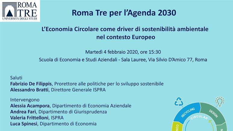 Roma Tre per l'Agenda 2030 – Seminario: L'Economia Circolare come driver di sostenibilità ambientale nel contesto Europeo