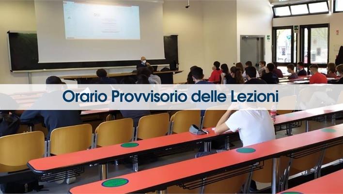 Orario provvisorio delle lezioni A.A. 2021/2022