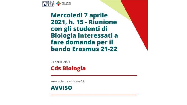 Riunione con gli studenti di Biologia interessati a fare domanda per il bando Erasmus 21-22
