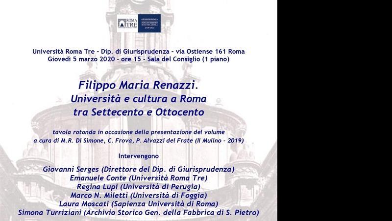 Filippo Maria Renazzi. Università e cultura a Roma tra Settecento e Ottocento