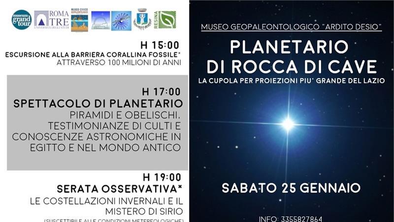 """""""Le costellazioni invernali e il mistero di Sirio"""" al Museo Geopaleontologico di Rocca di Cave"""