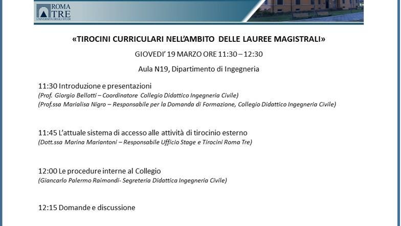 Ingegneria Civile: tirocini curriculari nell'ambito delle Lauree Magistrali