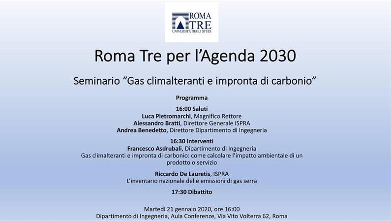 """Seminario """"Gas climalteranti e impronta di carbonio"""", prima iniziativa di Roma Tre per l'Agenda 2030"""