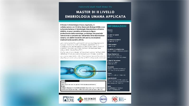 Master in Embriologia Umana Applicata