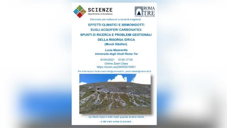 Seminario: Effetti climatici e sismoindotti sugli acquiferi carbonatici. Spunti di ricerca e problemi gestionali della risorsa idrica