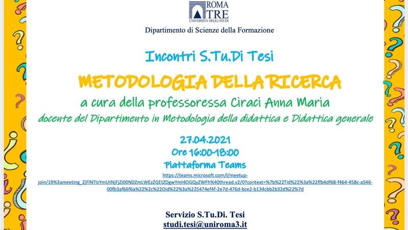 Incontri S.Tu.Di Tesi - Lezione di metodologia della ricerca