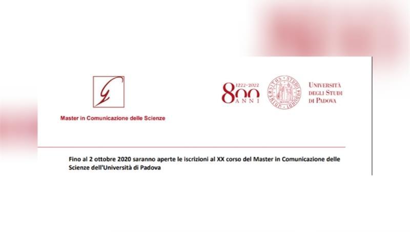 XX corso del Master in Comunicazione delle Scienze dell'Università di Padova