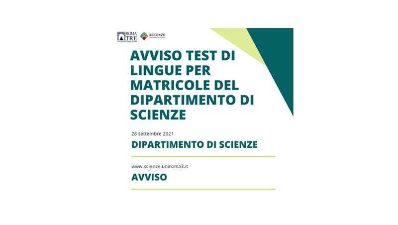 Avviso test di lingue per matricole del Dipartimento di Scienze presso il CLA