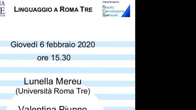 """Ciclo di seminari: """"Linguaggio a Roma Tre"""""""