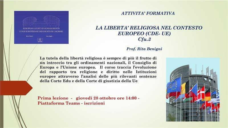 Attività formativa la libertà religiosa nel contesto europeo (CDE UE) 3 CFU