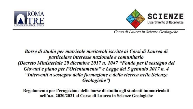Borse di studio per le nuove matricole del Corso di Laurea in Scienze Geologiche