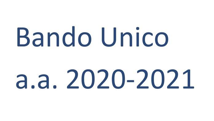 Pubblicazione Bando Unico a.a. 2020-2021