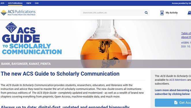 Biblioteca di area scientifica Biblioteca di area tecnologica - Trial a ACS Guide to Scholarly Communication