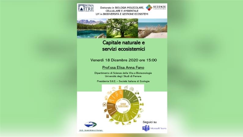 """Seminario """"Capitale naturale e servizi ecosistemici"""" con la prof.ssa Elisa Anna Fano"""