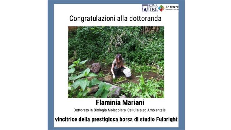 Congratulazioni alla dottoranda Flaminia Mariani, vincitrice della borsa di studio Fulbright